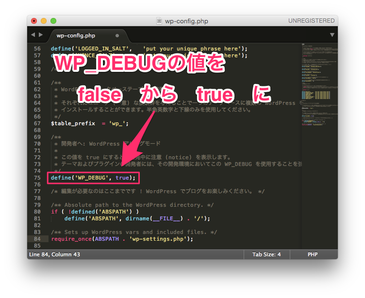 WordPressのwp-config.phpのWP_DEBUGの値をtrueにする