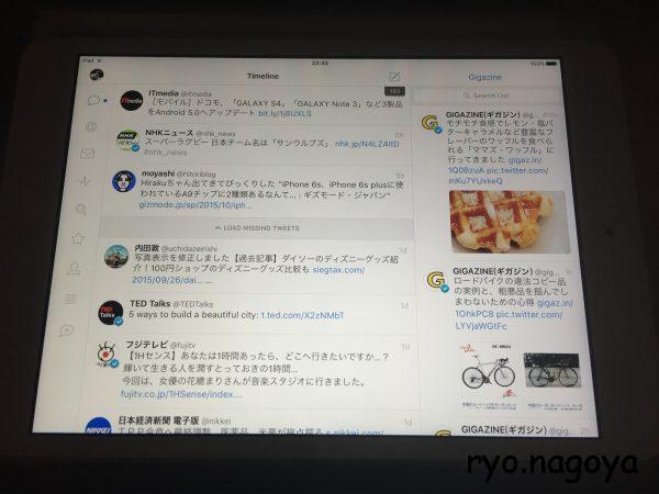 iPadminiでのTweetbot4